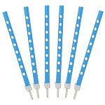 Blue Polka Dot Candles pk 12
