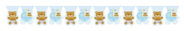 Blue Teddy Baby Shower Bunting - 3.7metres long