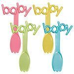 Blue Teddy Baby Pick Spoons - pk 6