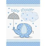 Blue Umbrellaphants Baby Shower Invites pk 8