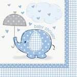 Blue Umbrellaphants Baby Shower Napkins pk 16