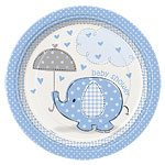 Blue Umbrellaphants Baby Shower Small Plates, pk 8