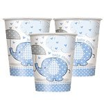Blue Umbrellaphants Baby Shower Cups, pk 8