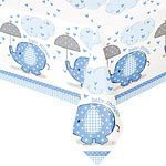 Blue Umbrellaphants Baby Shower Tablecover - 120cm x 180cm