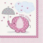 Pink Umbrellaphants Baby Shower Napkins pk 16