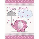 Pink Umbrellaphants Baby Shower Invites pk 8
