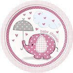 Pink Umbrellaphants Baby Shower Plates pk 8