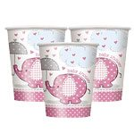 Pink Umbrellaphants Baby Shower Small Cups pk 8