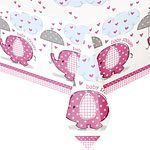 Pink Umbrellaphants Baby Shower Tablecover - 120cm x 180cm