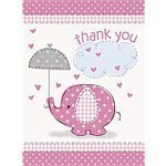Pink Umbrellaphants Baby Shower Thank you cards - pk 8