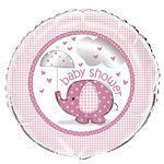 Pink Umbrellaphants Baby Shower Foil Balloon - 18""
