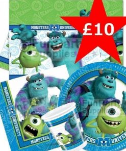 Monsters University Party Pack, includes pack of 20 Monsters University napkins, pack of 8 Monsters university paper plates, 8 Monsters University party cups and a Monsters University tablecover. Save