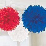 Red, White & Blue Tissue Pom Pom Fluffy Decorations - pk 3