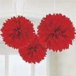 Red Tissue Pom Pom Fluffy Decorations - pk 3