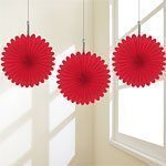 Red Hanging Fan Decorations - pk 5 - 15.2cm each made of paper.