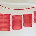 Red Paper Lanterns, 8 lanterns, 3.65metres long garland