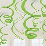 Lime Green Plastic Hanging Swirls - pk 12