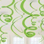 Lime Green Plastic Hanging Swirls - pk 12