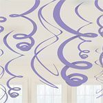 Purple Plastic Hanging Swirls - pk 12