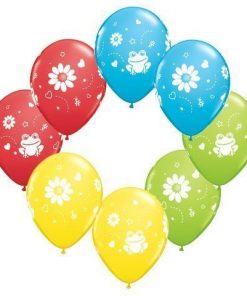 Frogs & Daisies Printed Latex Balloons - pack of 25