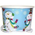 Christmas Joyful Snowman Party Dessert Pots With Spoons pk 12