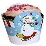 Christmas Joyful Snowman Party Cup Cake Wraps pk 12