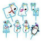 Christmas Joyful Snowman Party Cake Toppers pk 15