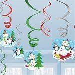 Christmas Joyful Snowman Party Hanging Swirls - 55cm 12 pk