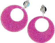 1980's Fancy Dress Accessories Mod Earrings - Pink Glitter