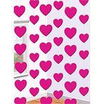 Valentines Decorations Pink Heart Foil Strings - 2.1m pk 6