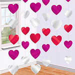 Valentines Decorations Heart Strings - 2.1m  pk 6