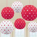 Valentines Heart Printed Lanterns pk 6