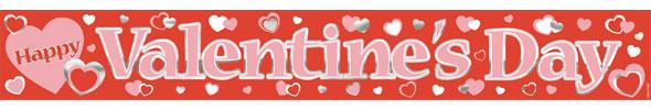 Valentines Happy Valentines Metallic Banner - 3.65m