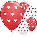 Valentines 11'' Big Hearts Red Printed Latex Balloons pk 6