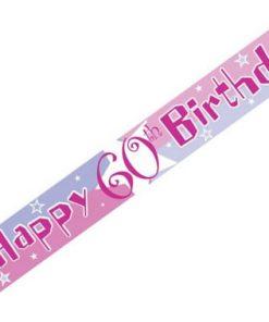 Pink Shimmer Birthday Happy 60th Birthday Banner - each