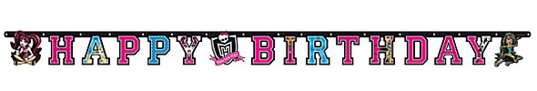 Monster High Party Happy Birthday Letter Banner - 1.8m