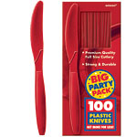 Apple Red Party Plastic Knives pk 100