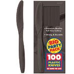 Jet Black Party Plastic Knives pk 100