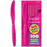 Hot Bright Pink Party Plastic Knives pk 100