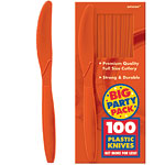 Orange Party Plastic Knives pk 100