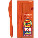 Orange Party Plastic Knives pk 100