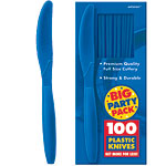Bright Royal Blue Party Plastic Knives pk 100