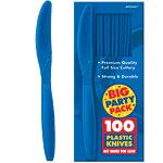 Bright Royal Blue Party Plastic Knives pk 100