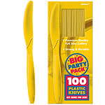 Yellow Sunshine Party Plastic Knives pk 100