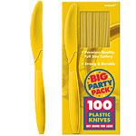 Yellow Sunshine Party Plastic Knives pk 100