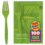 Kiwi Lime Green  Party Plastic Forks pk 100