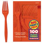 Orange  Party Plastic Forks pk 100