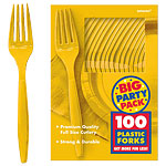 Yellow Sunshine Party Plastic Forks pk 100