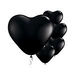 6'' Heart Onyx Black Latex Balloons pk 100