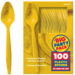 Yellow Sunshine Party Plastic Spoons pk 100